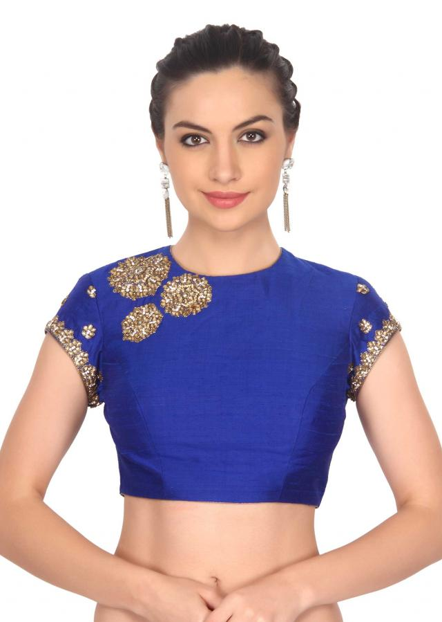 Blue blouse adorn in kundan and zardosi embroidery only on Kalki
