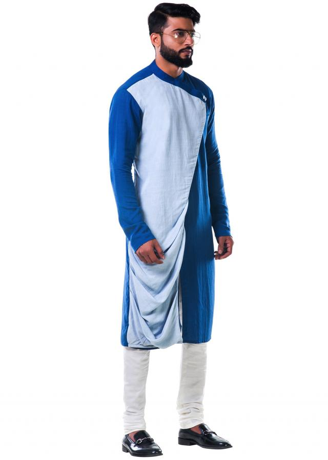 Blue dual colour overlapped cowl kurta set only on Kalki