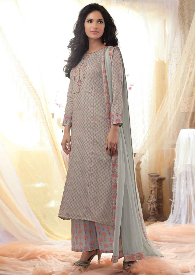 Blue grey unstitched printed suit with embroidered placket only on Kalki