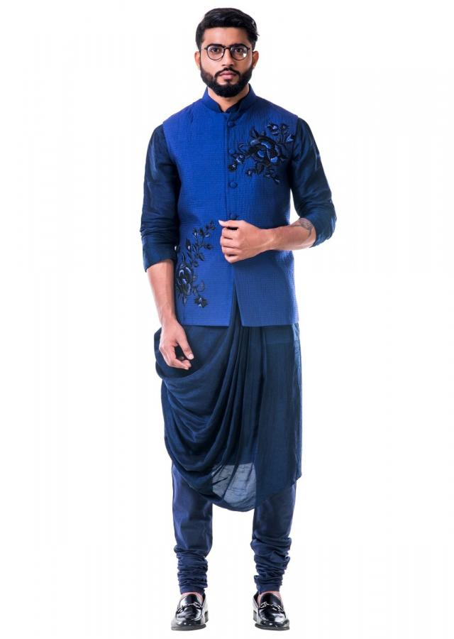 Blue quilted jacket with thread work embroidery only on Kalki