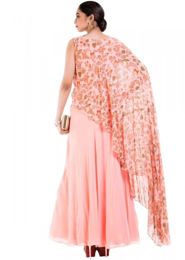 Blush Pink Printed Cape Gown