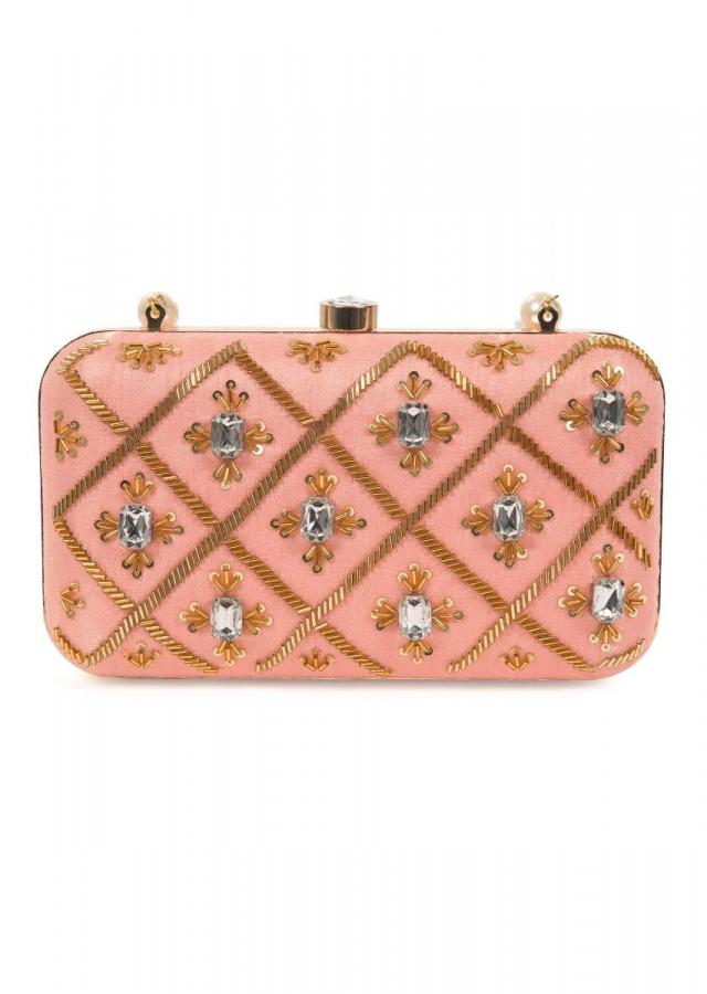 Blush pink hand embroidered capsule clutch