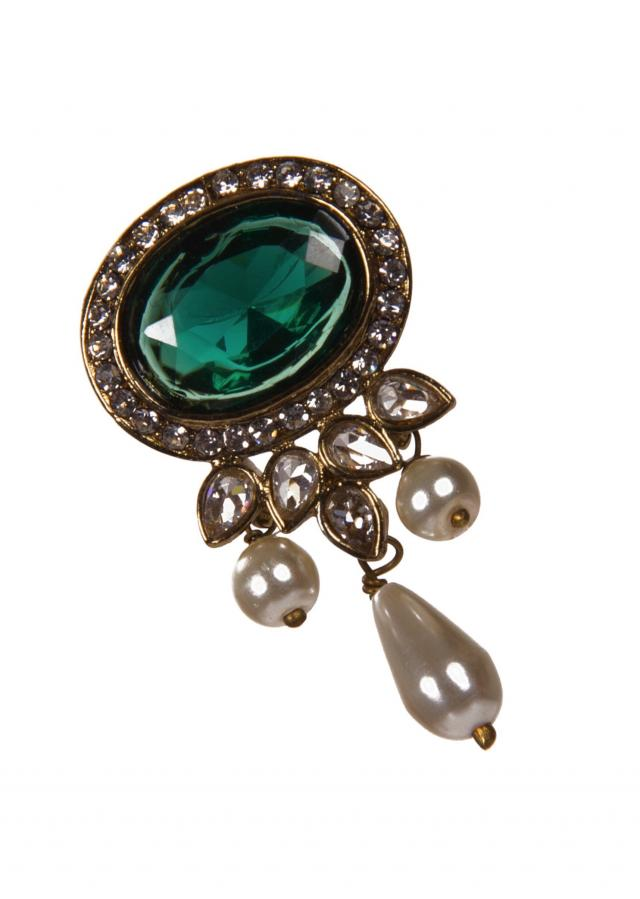 Bottle Green Drop Earrings Studded With Diamonds And Kundan only on Kalki