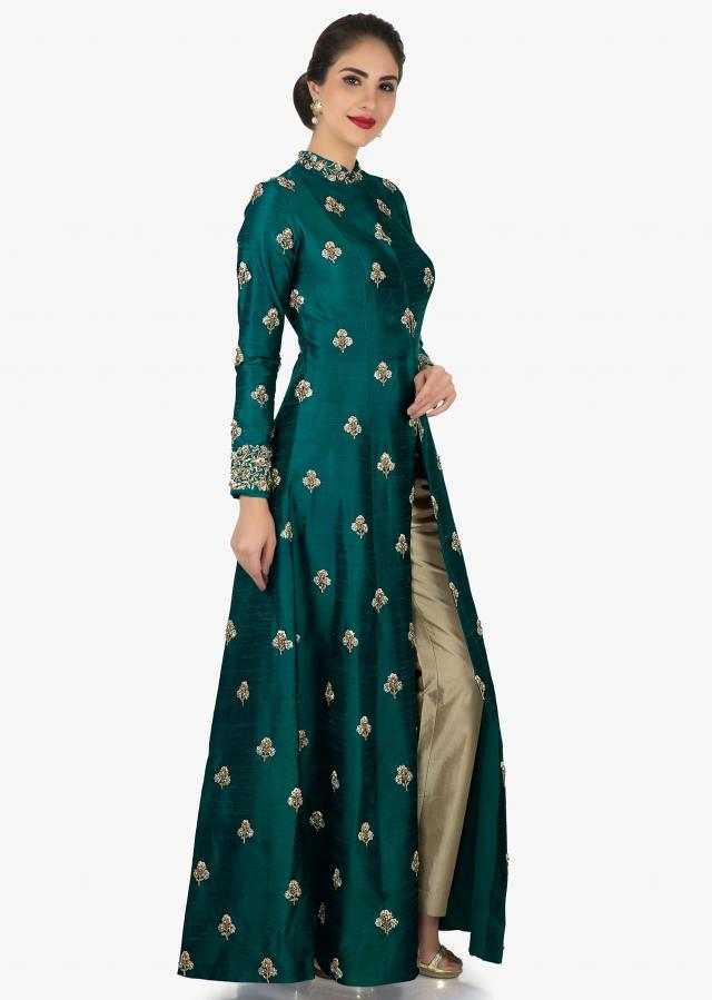 Bottle green parallel suit beautified with resham zari butti work only on Kalki