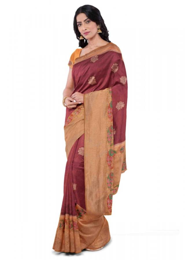 Brick Red Saree In Banarasi Silk With Mustard Blouse Piece Online - Kalki Fashion