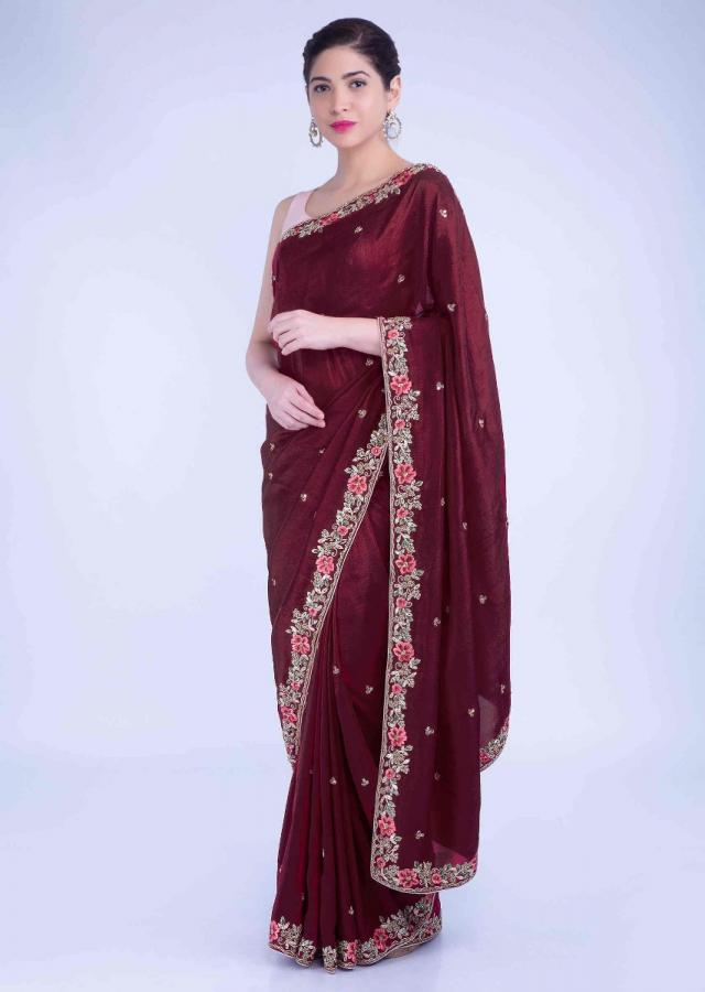Brick Red Saree In Cotton Silk With Blush Pink Raw Silk Blouse Piece Online - Kalki Fashion
