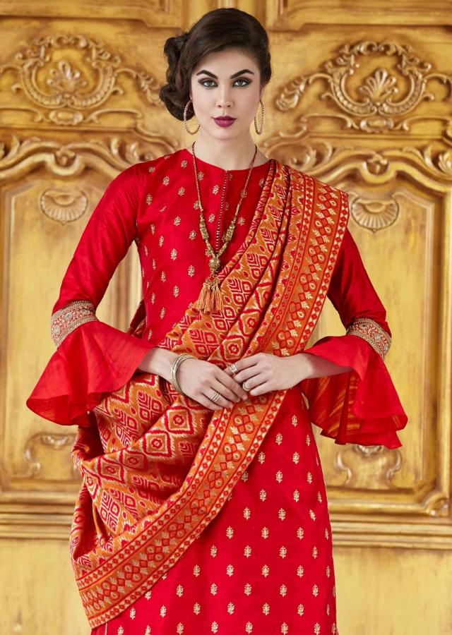 Brick Red Straight Suit In Raw Silk With Zari Embroidered Butti And Brocade Dupatta Online - Kalki Fashion