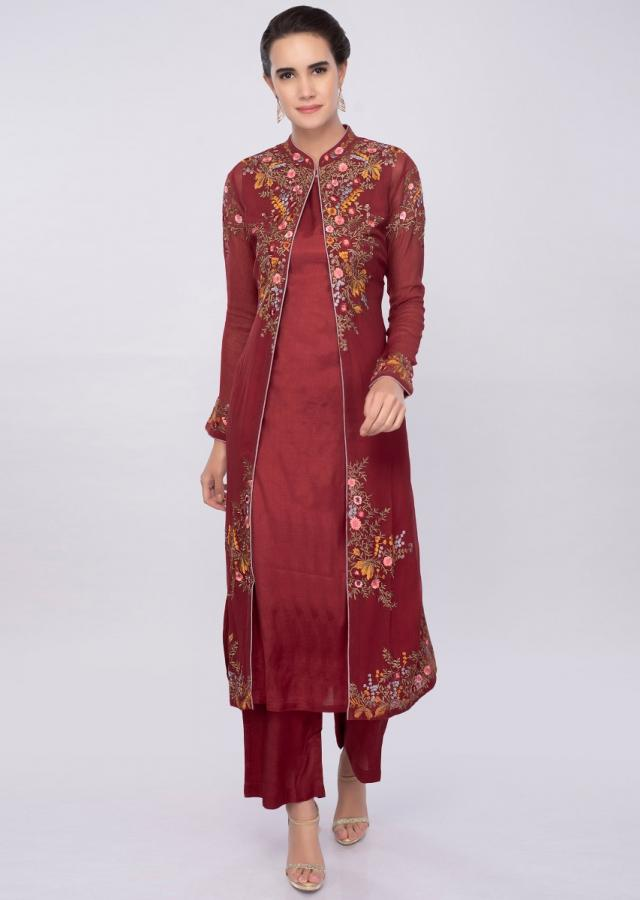 Brick red three piece suit in floral resham embroidery only on Kalki
