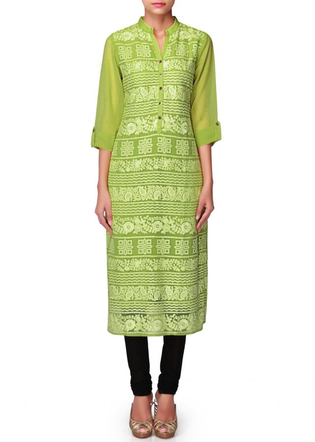 Bright green kurti embellished in thread and shell button only on Kalki