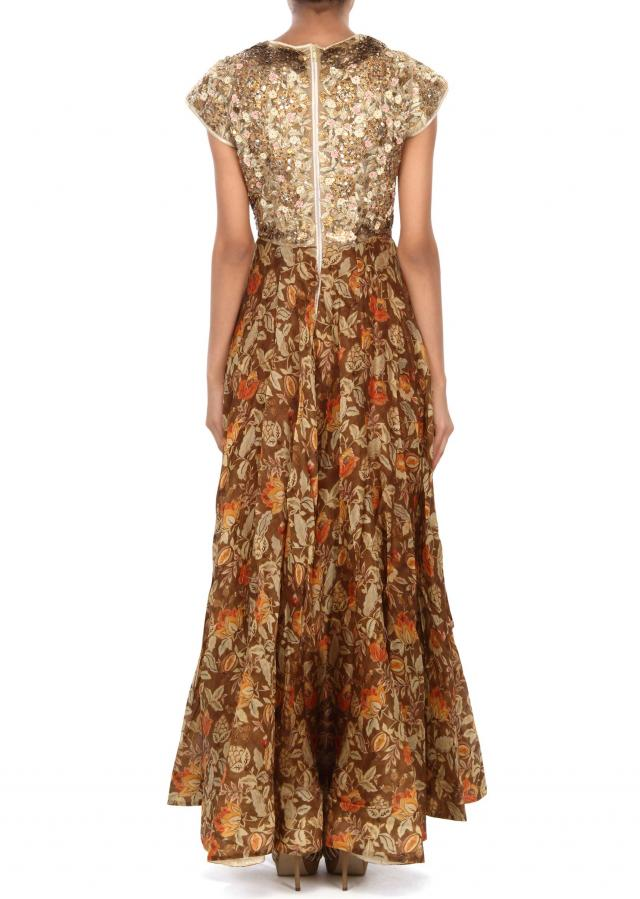 Brown anarkali suit featuring in print and sequin embroidery only on Kalki