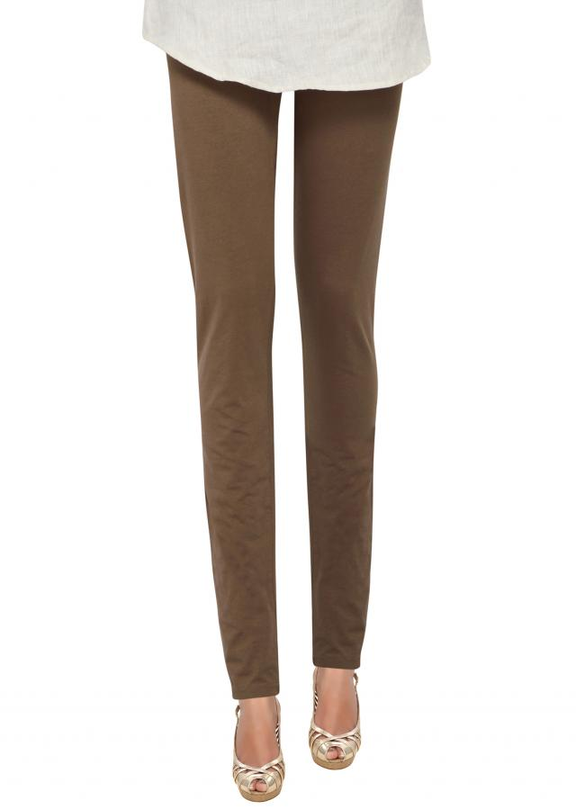 Brown cotton hosiery legging only on Kalki