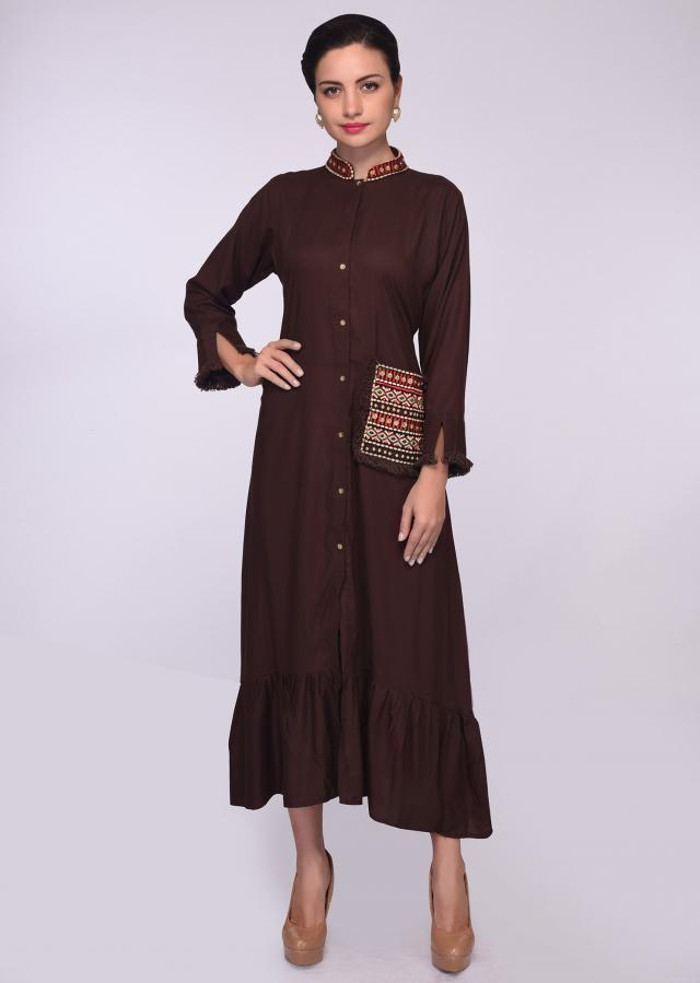 Brown cotton tunic with embroidered collar and  pocket only on Kalki