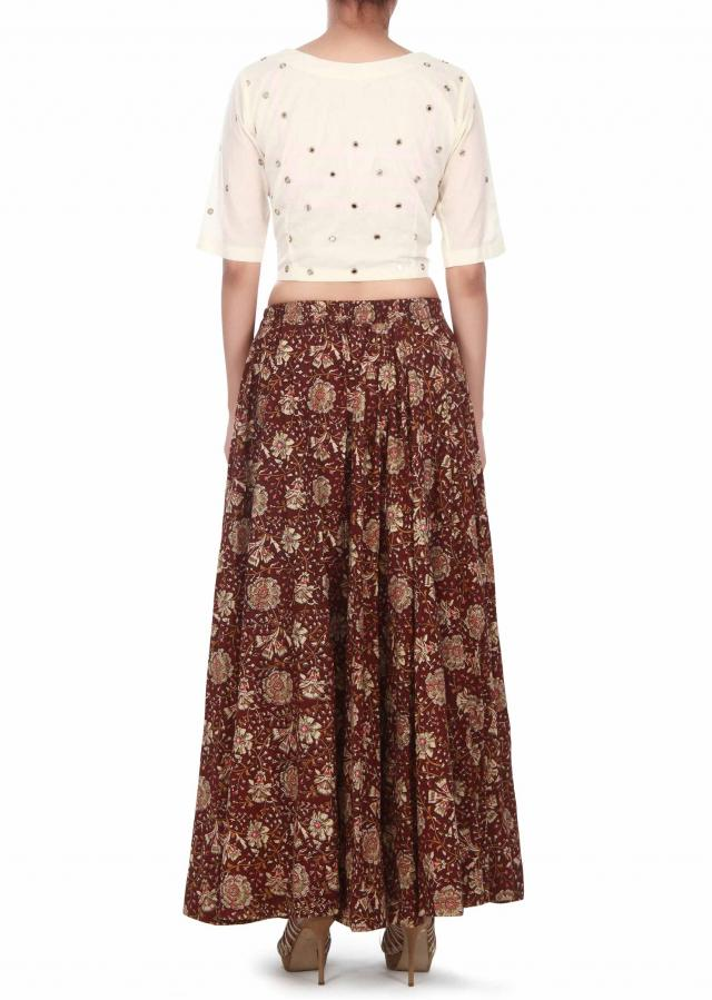 Brown floral skirt with crop top embroidered blouse only on Kalki