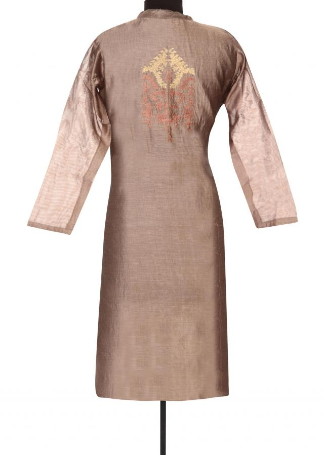 Brown kurti adorn in resham and thread embroidery only on Kalki