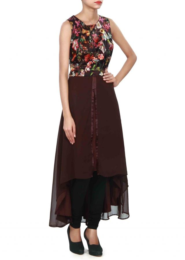 Brown kurti enhanced in print and box pleats only on Kalki