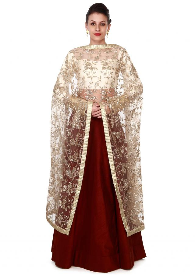Brown lehenga with sequin embroidered dupatta only on Kalki