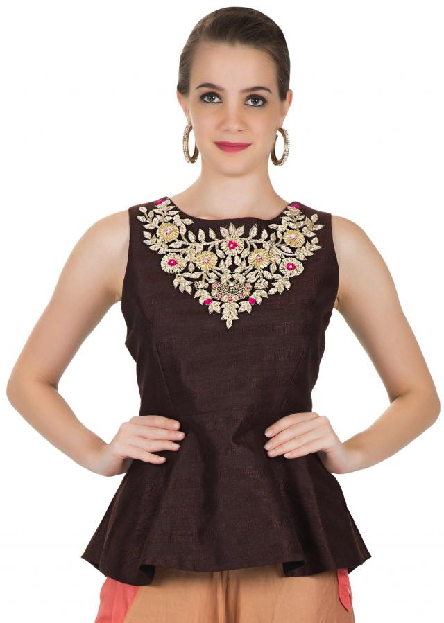 Brown Raw Silk Top Adorned with Zardosi Embroidery and Multi-coloured Satin Alladin Pants only on Kalki