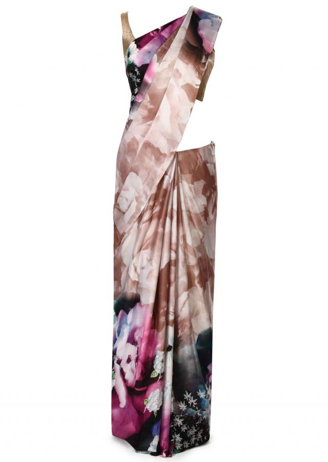 Brown saree featuring in floral print only on Kalki