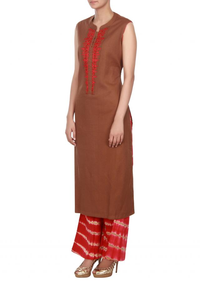 Brown straight suit embellished in resham placket only on Kalki