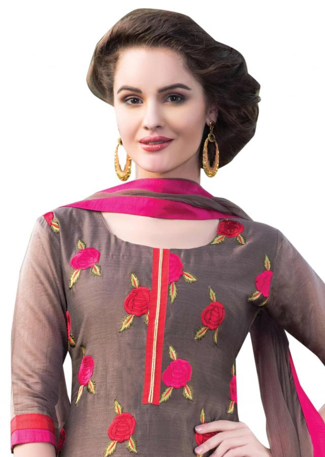 Brown unstitched suit in resham with rose motif