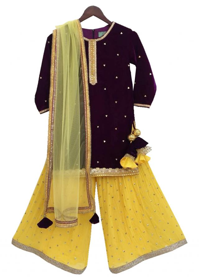 Brown Velvet Kurti with Yellow Sequence Boori Georgette Sharara by Fayon Kids