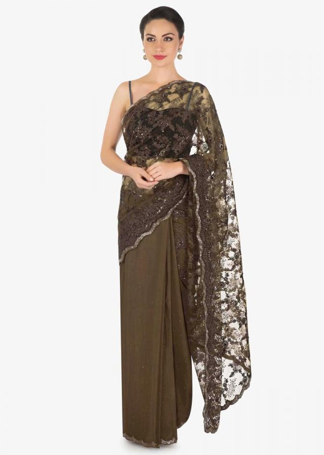 Brown half and half saree in zari embroidered net and chiffon only on Kalki