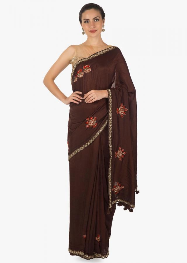 Brown saree in cotton silk with embossed resham and zardosi only on Kalki