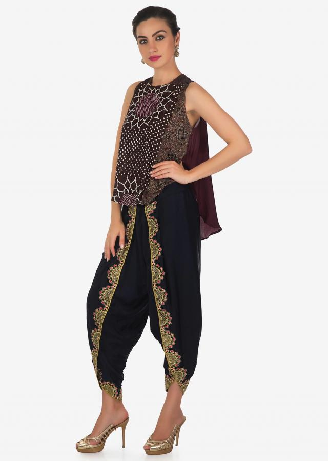 Brown top with front short and back long in bandhani print