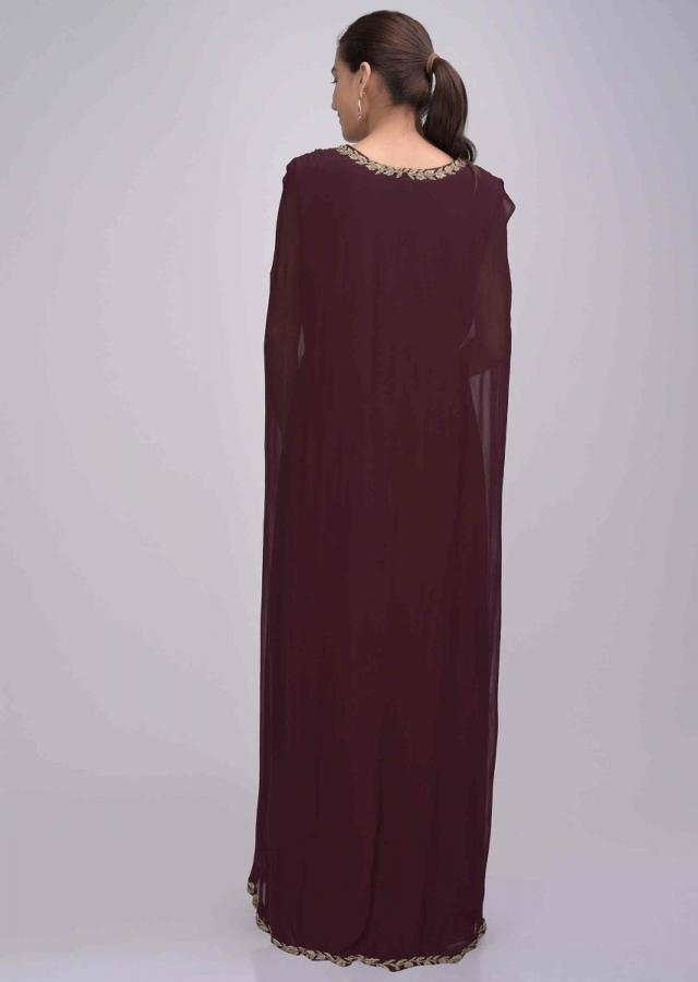 Burgundy Suit In Chiffon With Attached Cape Online - Kalki Fashion