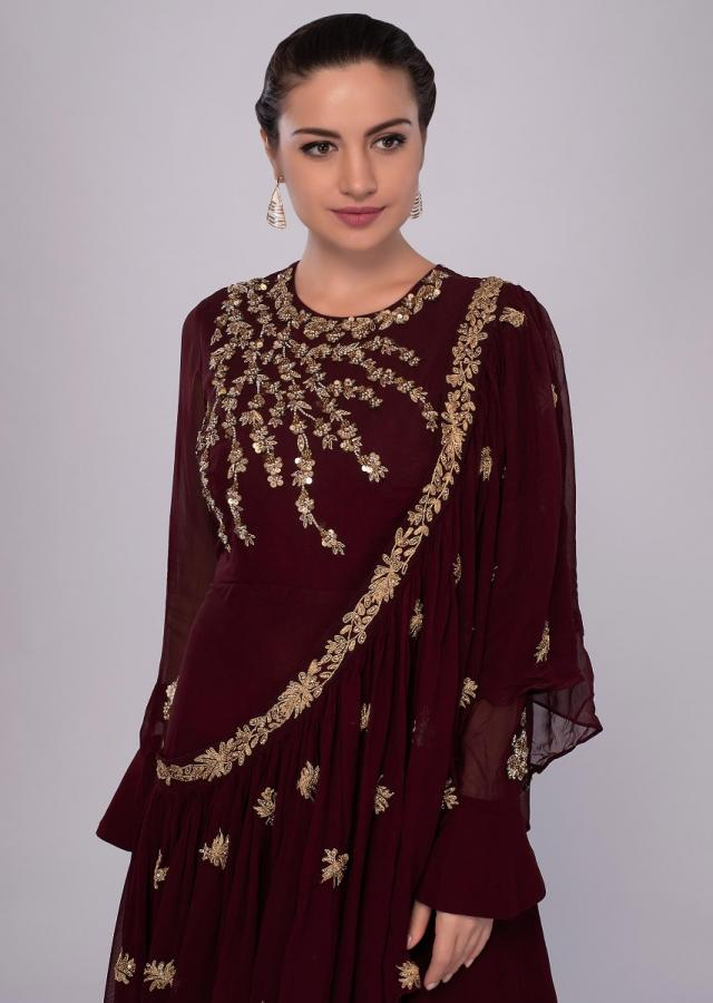 Burgundy Tunic Dress In Georgette With A Wrap Around Online - Kalki Fashion