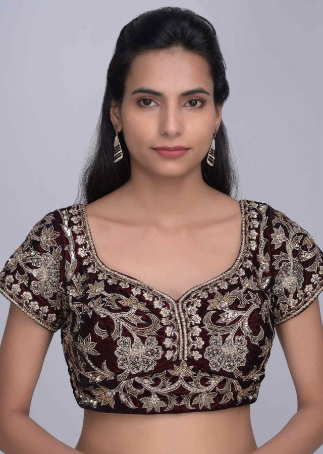 Burgundy Lehenga Invelvet With Peach Net Dupatta Online - Kalki Fashion