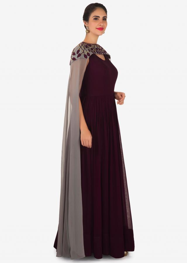 Burgundy anarkali suit in georgette with french knot embroidered fancy cape only on Kalki