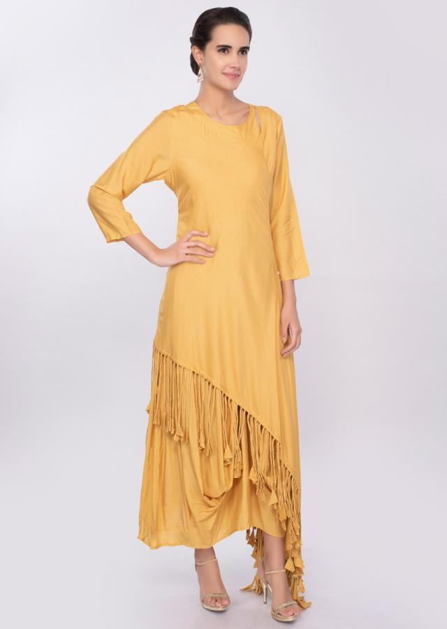 Butter yellow cotton tunic dress with additional top layer in fringes only on Kalki