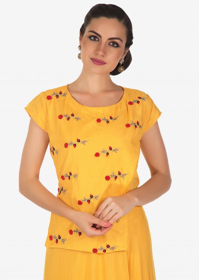 Butter yellow  Dress Embellished with floral butti only on Kalki