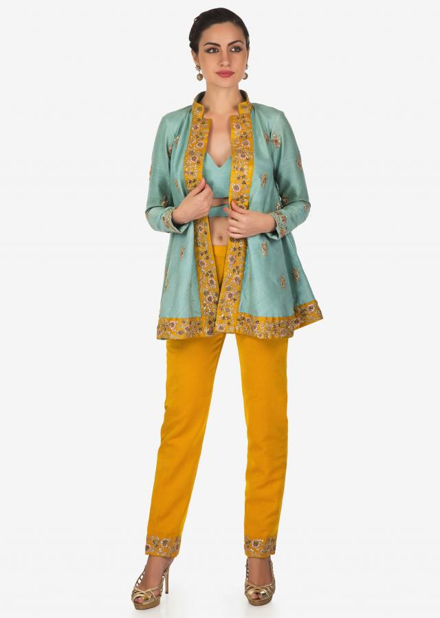 Canary Yellow and Blue Top, Jacket and Cigarette Pants Set Featuring Zari Work Only on Kalki