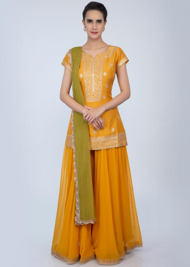 Canary yellow sequins and zari embroidered palazzo suit set only on Kalki