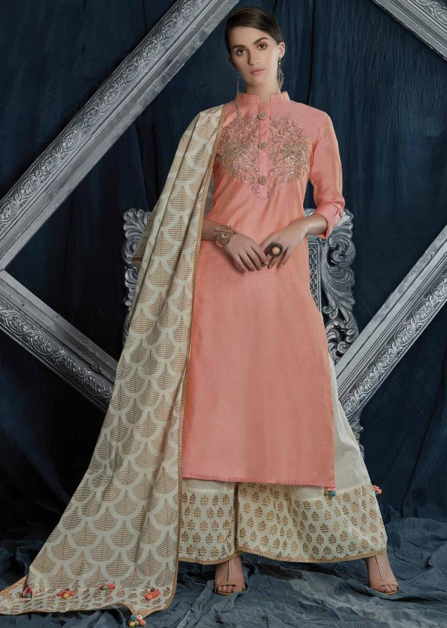 Candy Pink Straight Palazzo Suit In Silk With Embroidered Placket In Gotta Patch And Fancy Buttons Online - Kalki Fashion