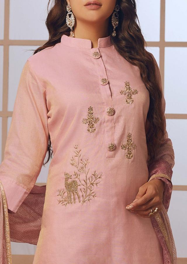 Candy Pink Straight Palazzo Suit With Embroidered Butti And Fancy Buttons Online - Kalki Fashion