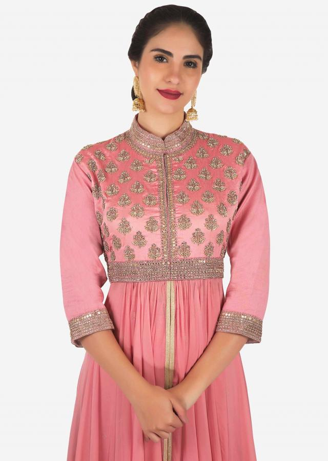 Candy pink anarkali suit in french knot embroidery only on Kalki