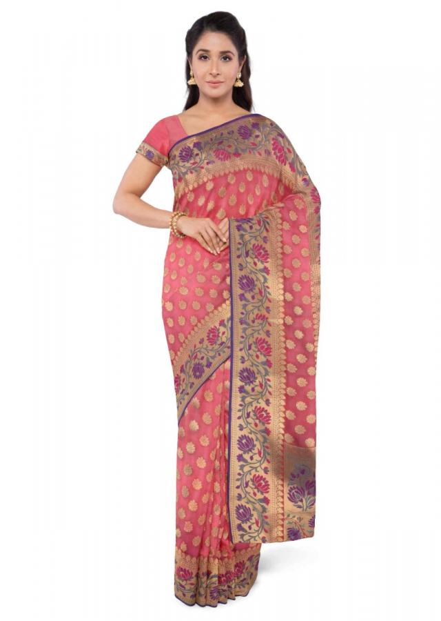 Carmine Red Saree In Banarasi Silk With Matching Blouse Piece Online - Kalki Fashion