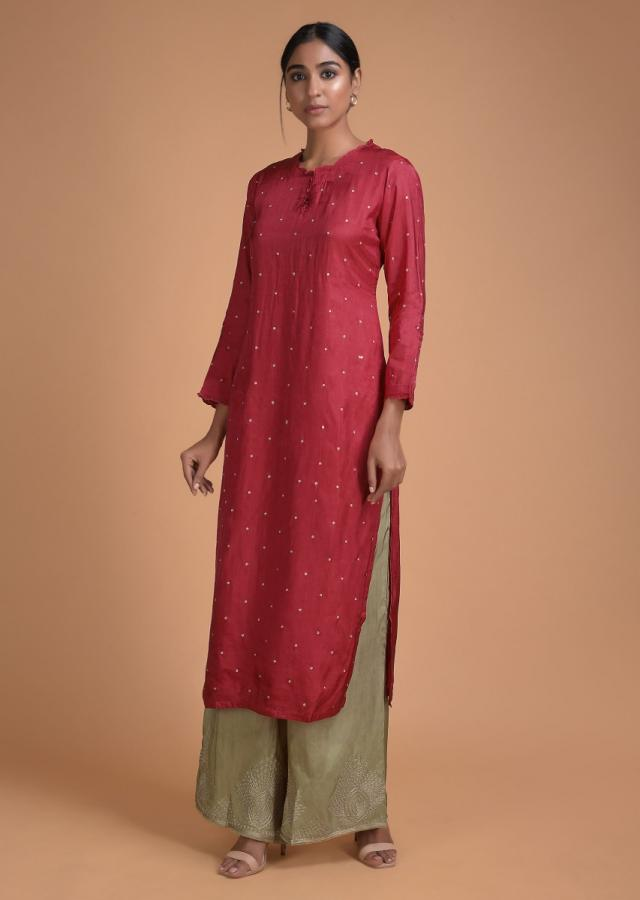 Carmine Red Straight Cut Palazzo Suit With Zari Embroidered Buttis Online - Kalki Fashion