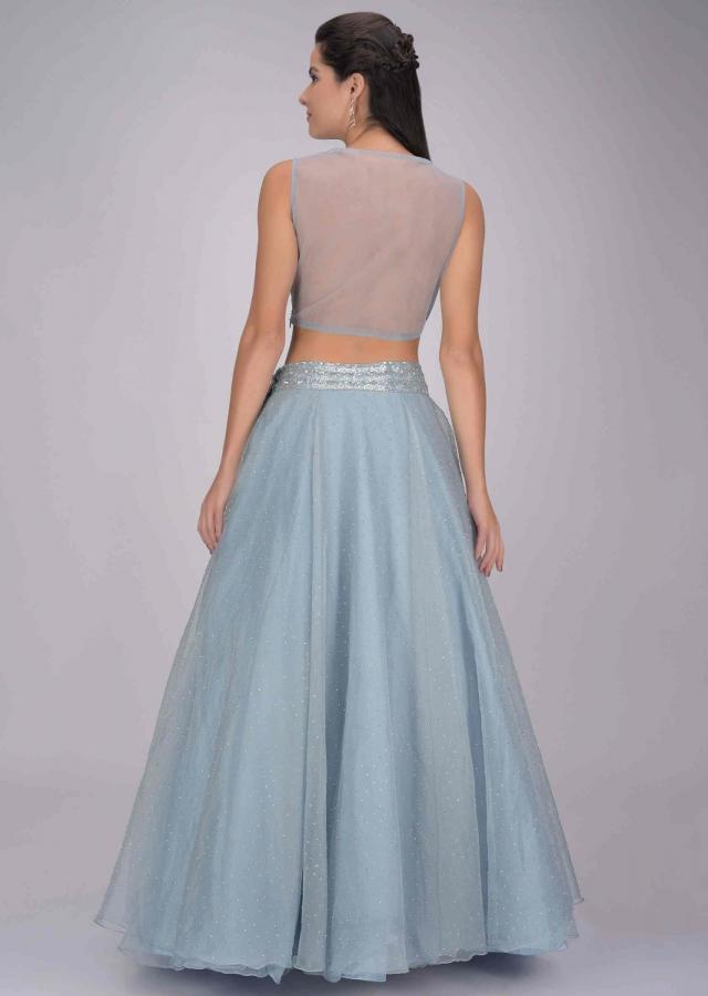Carolina Blue Lehenga Set In Organza With Ruffled Dupatta And Embellished Blouse Online - Kalki Fashion