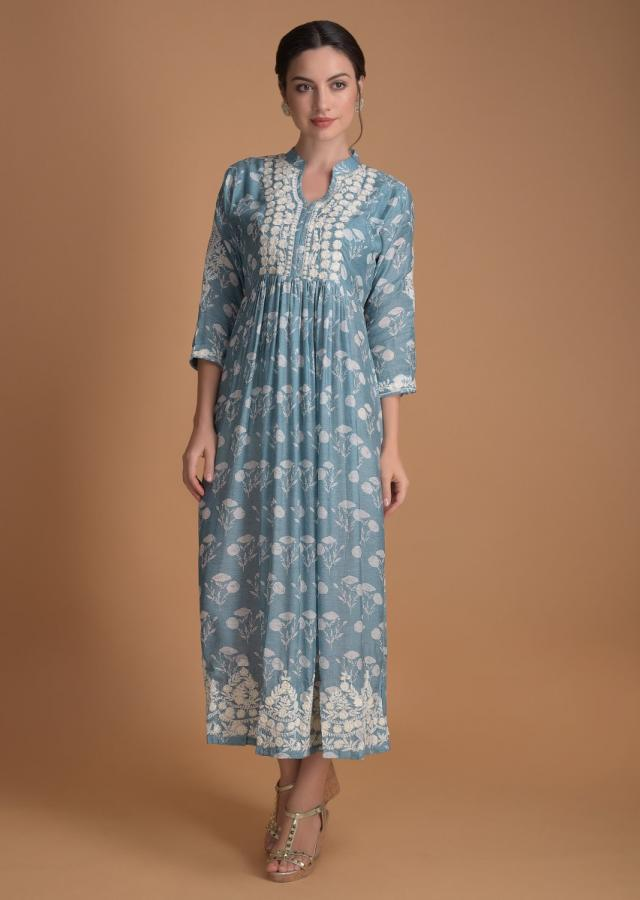 Carolina Blue Tunic In Cotton With Floral Printed Buttis And Thread Embroidery Online - Kalki Fashion