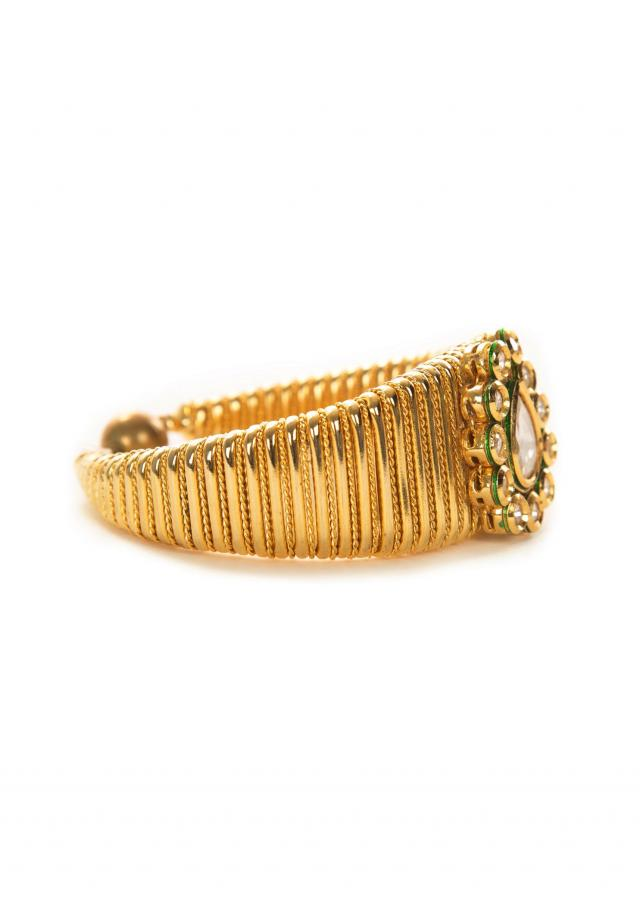 Carved golden kundan bracelet only on Kalki