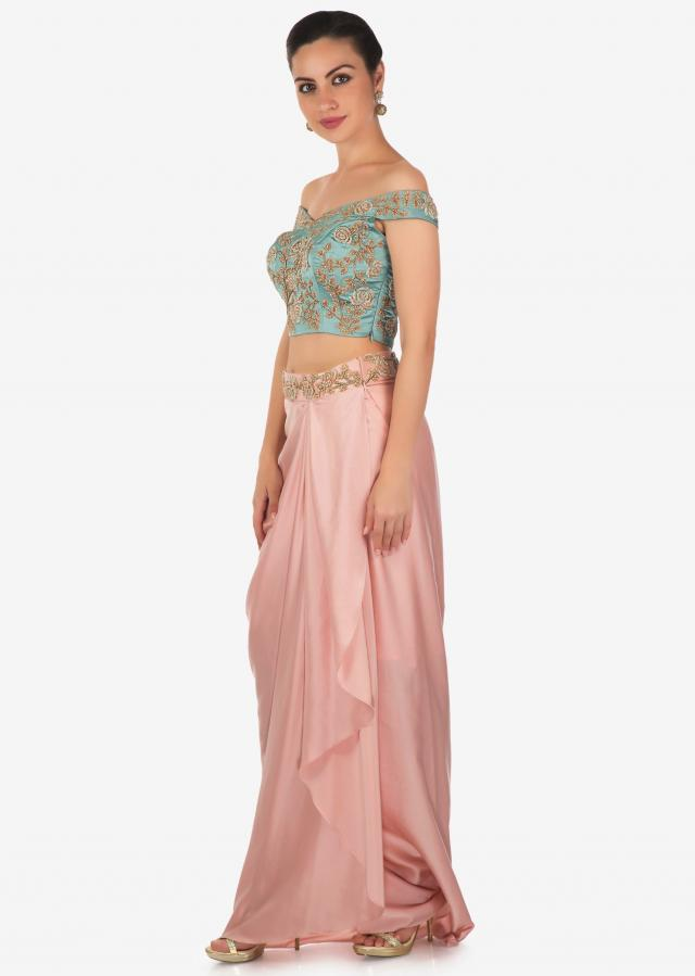 Cerulean Blue Top and Rose Pink Draped Lungi Skirt Set Only on Kalki