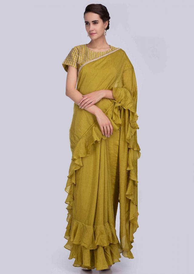 Cetrus Green Green Saree In Cotton Silk With Frilled Hem And Pallu Online - Kalki Fashion
