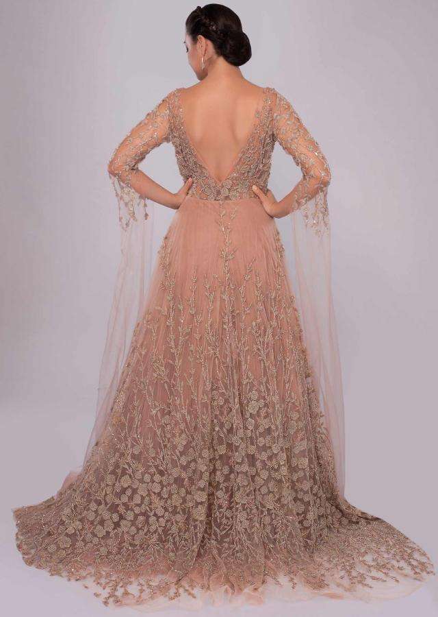 Champagne Beige Gown With Bustier Pattern Bodice With Trail Back And Sleeves Online - Kalki Fashion