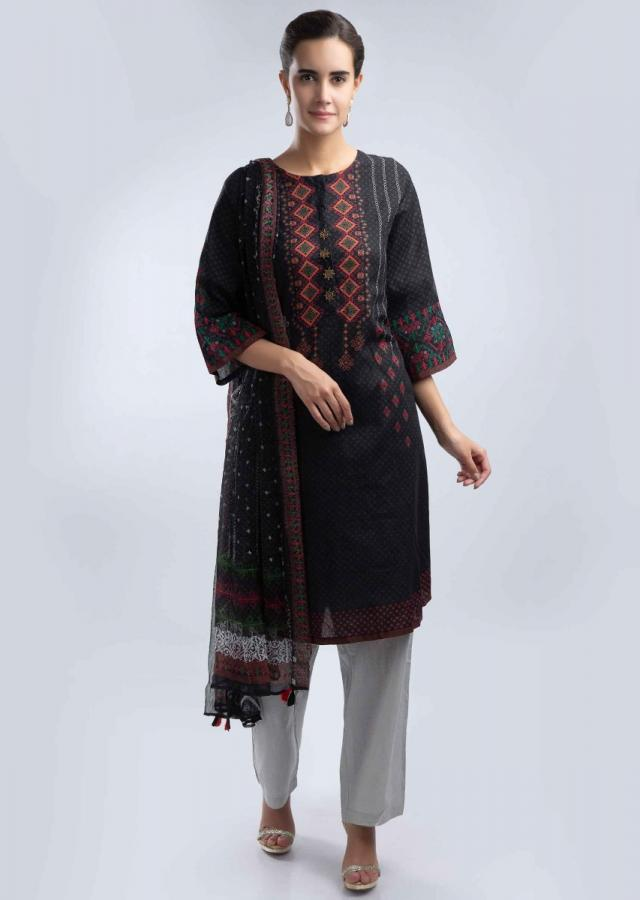 Charcoal Black Suit In Cotton With Digital Print And Matching Chiffon Dupatta Online - Kalki Fashion