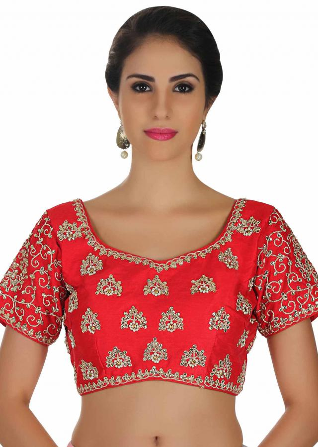 Cherry red blouse with kundan and zari embroidered butti only on Kalki