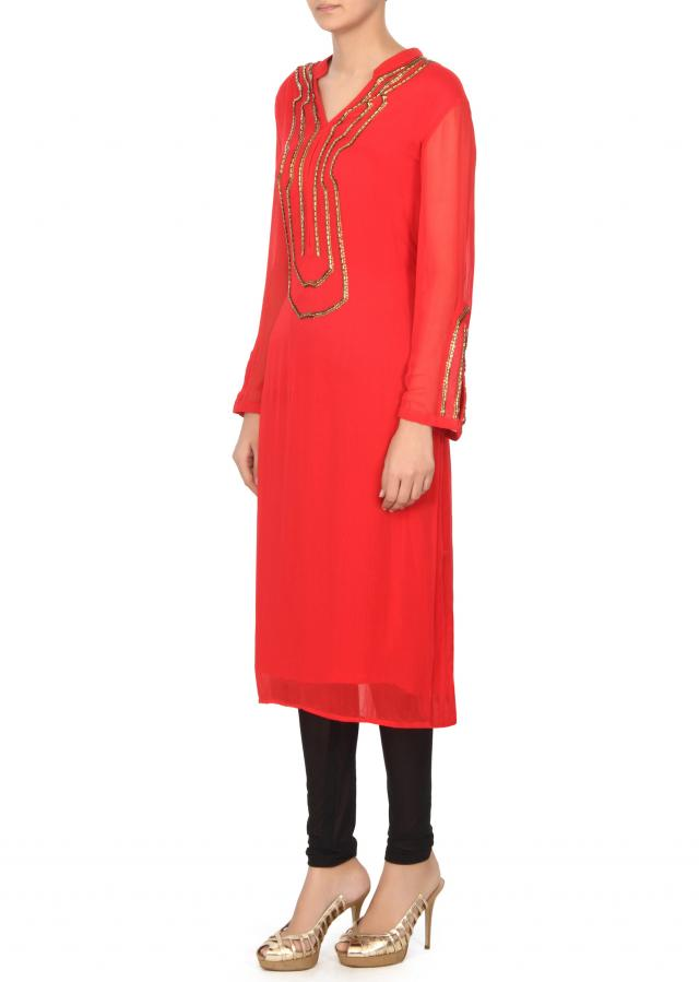 Cherry red kurti with embellished placket only on Kalki